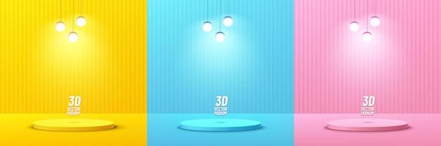 Ensemble de podium de piédestal de cylindre jaune pastel rose et bleu abstrait avec lampe suspendue à boule de sphère