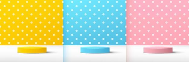 Ensemble de podium de piédestal de cylindre rose bleu jaune 3d abstrait avec scène à pois pastel et blanc