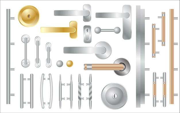 Ensemble de poignées de porte isolé sur blanc. accessoires pour portes et fenêtres. illustration vectorielle.