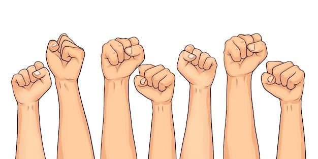 Ensemble de poings levés dessinés à la main