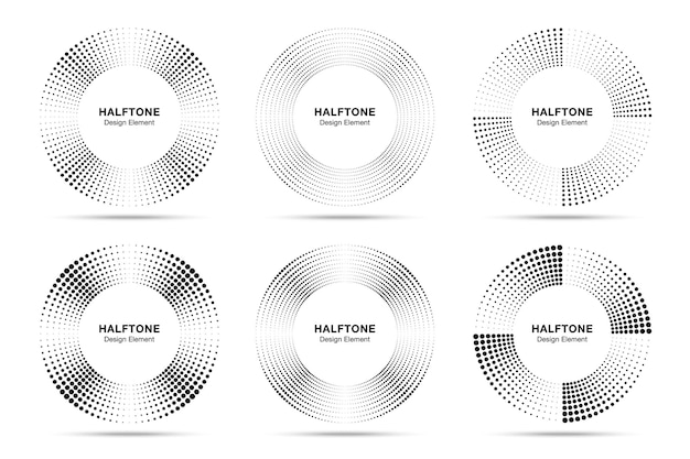 Ensemble de points de cadre de cercle de demi-teintes. circulaire demi-ton. bordure ronde en utilisant une texture raster de points de cercle de demi-teintes.