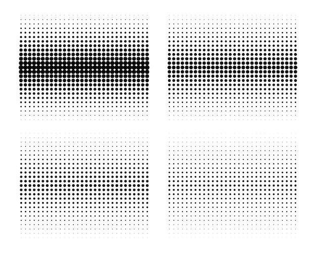 Ensemble de points de cercle de demi-teintes dégradées. points de demi-teintes horizontaux.