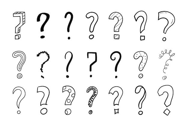 Ensemble de points d'interrogation dessinés à la main. croquis de griffonnage. illustration vectorielle isolée sur fond blanc.