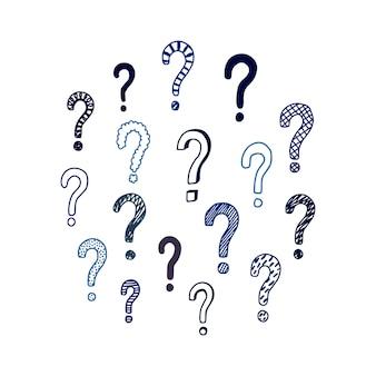 Ensemble de points d'interrogation dessinés à la main. illustration vectorielle isolée sur fond blanc