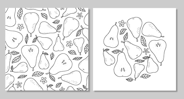 Ensemble de poires esquissées et motif monochrome