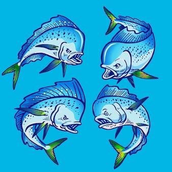 Ensemble de poisson mahimahi bleu pour la collection de lots de poissons-gibiers