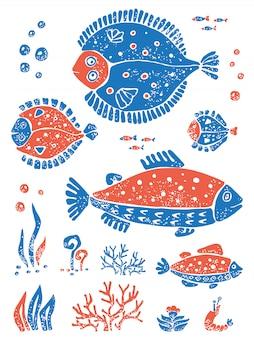 Ensemble de poissons bleus orange dans un style de lino naïf