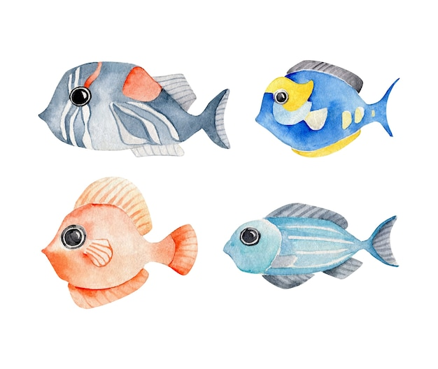 Ensemble de poissons exotiques aquarelle