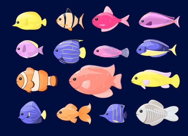 Un ensemble de poissons de mer mignons dans un style cartoon sur fond sombre.