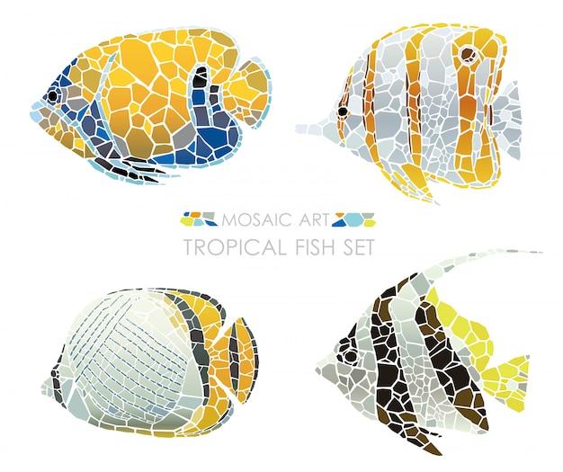 Ensemble de poissons tropicaux de mosaïque isolé. illustration vectorielle