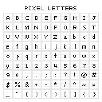 Ensemble de police de caractères pixel art pixel isolé
