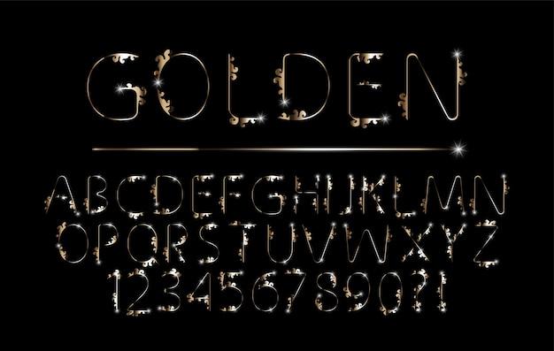 Ensemble de polices de l'alphabet élégant en métal chromé de couleur or pour le vecteur d'invitation d'affiche de logo