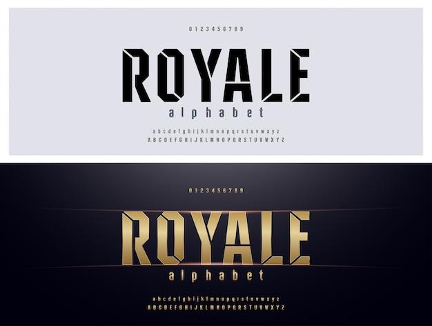 Ensemble de polices alphabet en métal doré élégante typographie