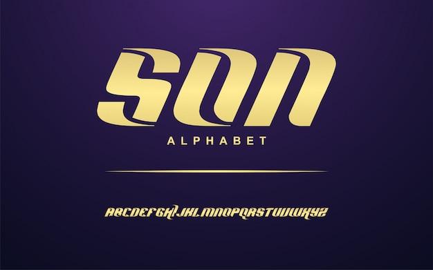 Ensemble de polices alphabet moderne doré élégant