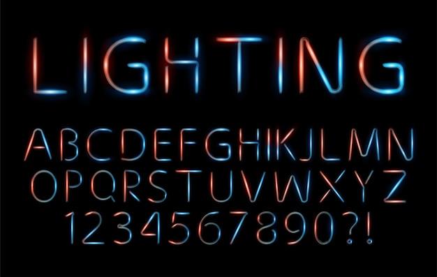 Ensemble de polices élégantes de l'alphabet néon rouge et bleu pour logo, affiche, invitation. illustration vectorielle