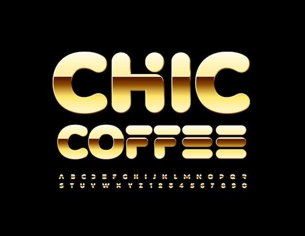 Ensemble de polices modernes chic café doré de lettres et de chiffres de l'alphabet brillant