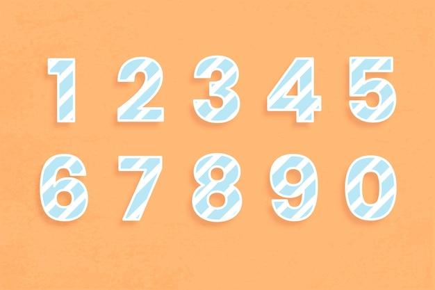 Ensemble de polices de nombres motif à rayures illustration