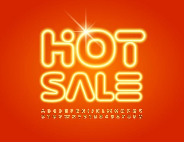 Ensemble de polices de style tendance de vente chaude d'enseigne au néon de lettres et de chiffres de l'alphabet lumineux