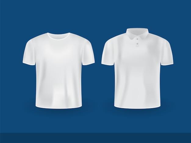 Ensemble de polo réaliste et maquette de t-shirt col rond isolé sur fond bleu.