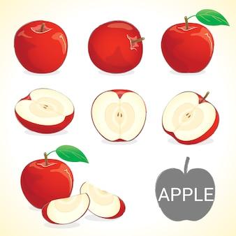Ensemble de pomme en différents formats de vecteur