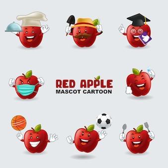 Ensemble de pomme mascotte dans plusieurs poses