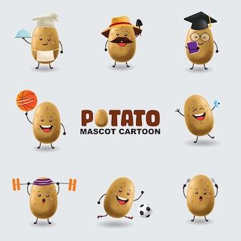 Ensemble de pomme de terre mascotte dans plusieurs poses