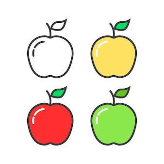 Ensemble de pommes colorées linéaires. concept de collation, délicieux, naturel, nutritif, déjeuner, récolte d'été ou d'automne. plat, style lineart, tendance, moderne, logotype, conception, vecteur, illustration, blanc, fond