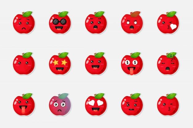 Ensemble de pommes rouges mignons avec des expressions