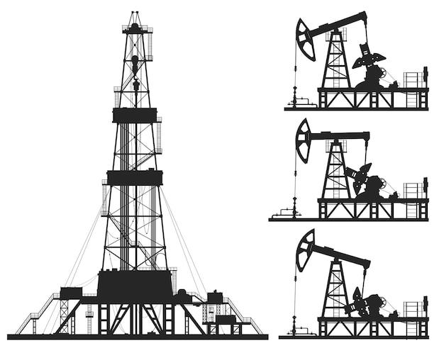 Ensemble de pompes à huile et silhouettes de plate-forme isolées sur blanc. illustration vectorielle de détail.