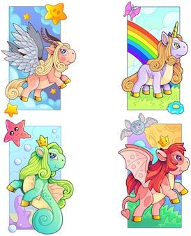 Ensemble de poneys de dessin animé