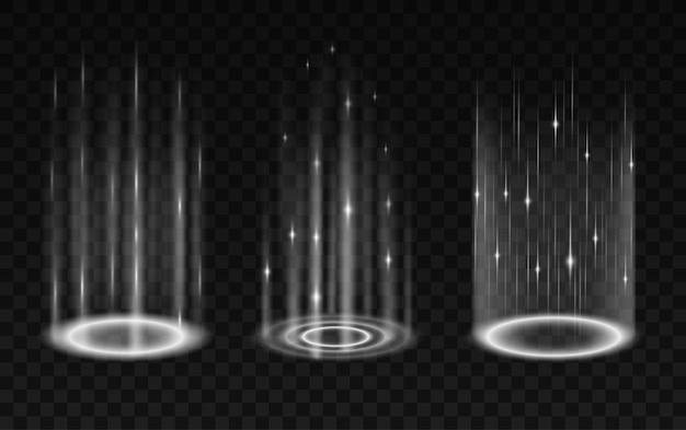 Ensemble de portails réalistes isolé sur fond transparent. effet de jeu de processus de mise à niveau et de téléportation, éclairage futuriste et aura d'enveloppe lumineuse. illustration vectorielle