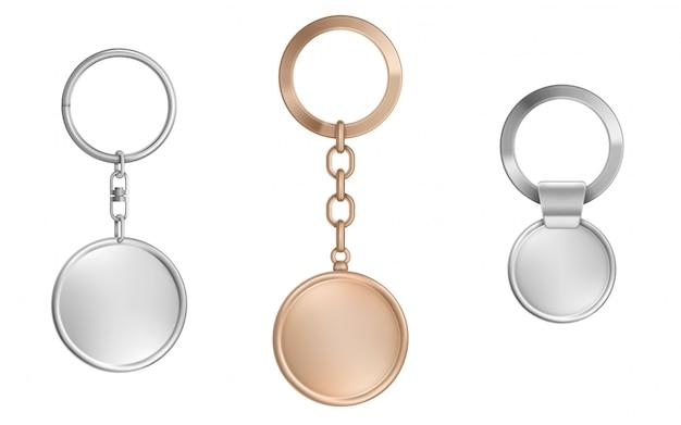Ensemble de porte-clés. métal rond, carré et hexagone
