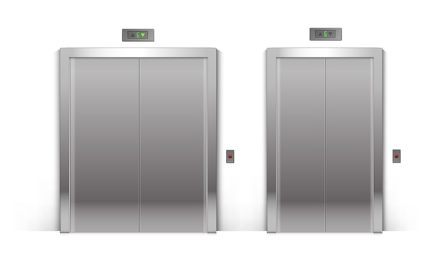 Ensemble de portes d'ascenseur d'immeuble de bureaux en métal chromé fermé réaliste isolé sur fond