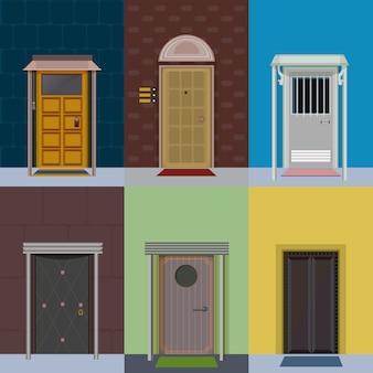 Ensemble de portes d'entrée élégantes colorées et plates