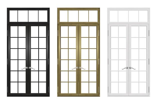 Ensemble de portes et fenêtres en bois classiques