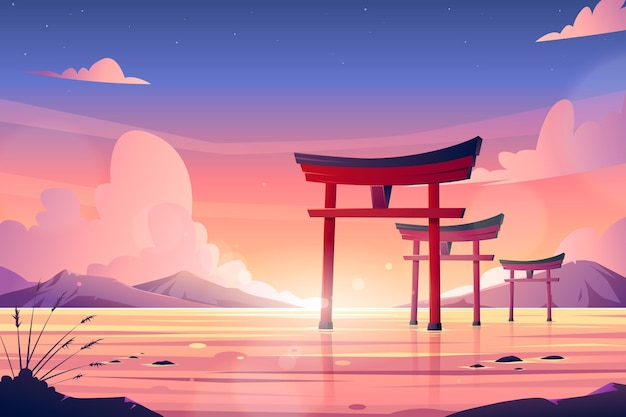 Ensemble de portes torii dans l'eau