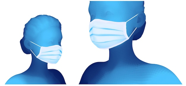 Ensemble de portrait 3d féminin sur fond blanc de masque médical