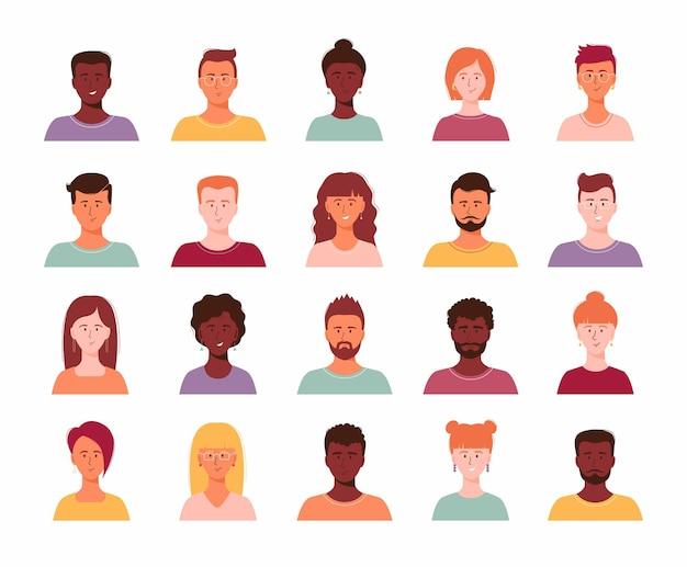 Ensemble de portrait de personne différente d'une grande équipe commerciale diversifiée illustration vectorielle à plat