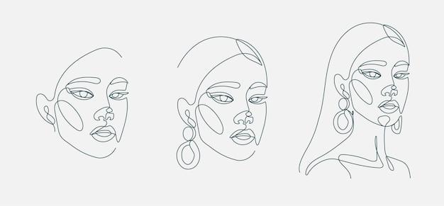 Ensemble de portrait de tête de femme dessin au trait continu