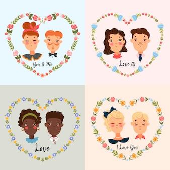 Ensemble de portraits de couples mignons. l'humeur de la saint-valentin.