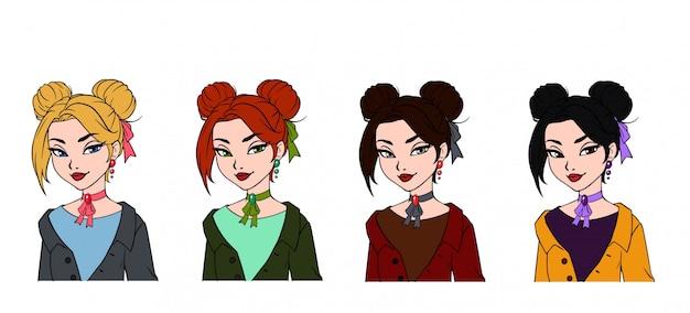 Ensemble de portraits dessinés à la main de jolie fille de dessin animé.