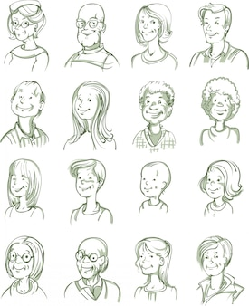 Ensemble de portraits dessinés à la main