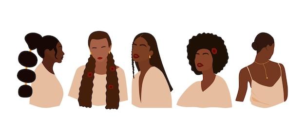 Ensemble de portraits de femmes sans visage. collection de filles noires abstraites avec différentes coiffures. illustration vectorielle minimale à la mode isolée sur fond blanc.