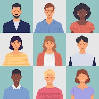 Ensemble de portraits de personnes. hommes et femmes souriant sur fond isolé.