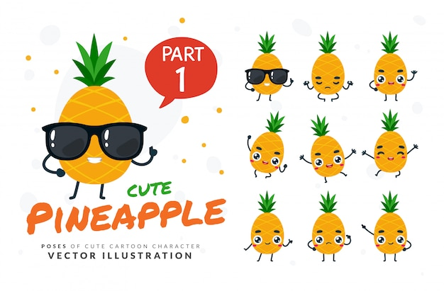 Ensemble de poses de dessin animé d'ananas.