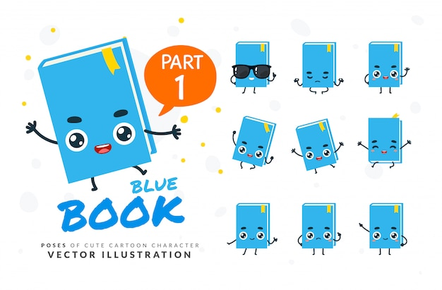 Ensemble de poses de dessin animé de blue book.