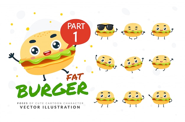 Ensemble de poses de dessin animé de burger.
