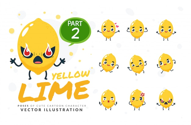 Ensemble de poses de dessin animé de citron vert.