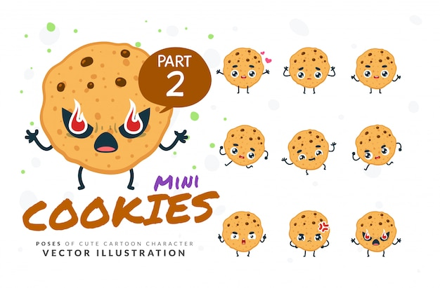 Ensemble de poses de dessin animé de cookies.