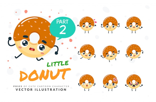 Ensemble de poses de dessin animé de donut.